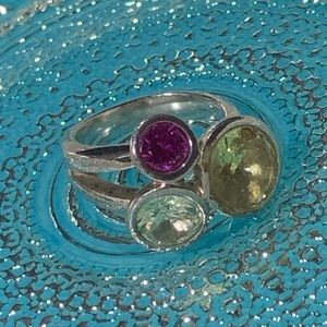 925 Silver Ring Set with 3 Coloured Stones
